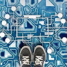 innovative custom printed vinyl flooring as a computer motherboard for office commercial and home use