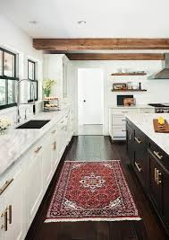 Red Kitchen Rug Transitional Kitchen