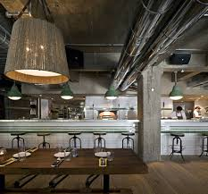 ... Industrial Interior Design Ideas : Inspiring Restaurant Design With  Industrial Theme Complete With Long Bar Table ...
