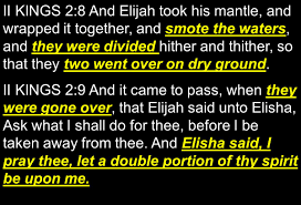 Image result for Elijah smote the waters in the bible
