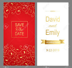 Red Wedding Card Design Save The Date Red Wedding Invitation Card For Your Design Vector