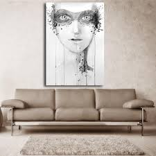large canvas painting white and black girl face abstract art oil painting unframed modern wall art print for living room in painting calligraphy from home