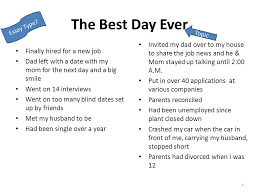 narrative expository persuasive graphic organizer cluster  the best day ever finally hired for a new job dad left a date