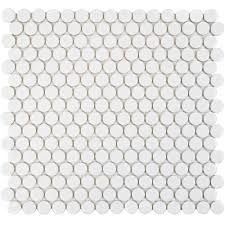 Merola Tile Hudson Penny Round Glossy White 12 in. x 12-5/8