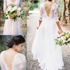 Aline Wedding Dresses Lace Chiffon Bridal Dresses Boho Lace Dress