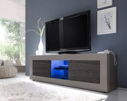 Meuble Tv Design 2 Portes Avec Clairage Coloris Beige Mat Weng
