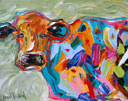 fine art print abstract cow 11 x 14 from oil painting by karen tarlton impressionistic