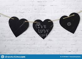 How To Hang Rope Lights On Brick Greeting Card Valentine Three Hearts Hang On A Rope On A