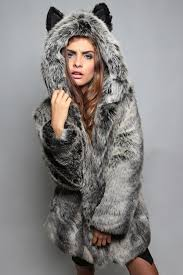 gray long sleeve faux fur hooded cute coat