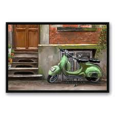 mint green scooter  on mint green canvas wall art with designs direct 24 in x 36 in mint green scooter printed framed