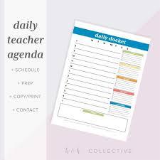 Teacher Organizer Planner Teacher Daily Planner Teacher Organizer Teacher Daily Agenda Teacher Planner Pdf Daily Schedule Hourly Planner To Do List Printable