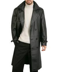 more views men s classic leather trench coat