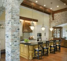 Red Brick Flooring Kitchen Exposed Brick Chimney In Kitchen Round Black Webbing Pendant Lamp