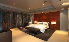 Bedroom:Classical Master Bedroom Idea For Luxury Leather Bed And Minimalist  Cabinets Decoration Modern Lighting