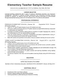 Career Objective For Teacher Resumes Elementary School Teacher Resume Objective Sample Teachers Download