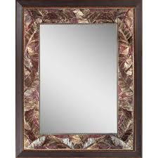 Bronze Mirror Bathroom Deco Mirror Tropical 27 In X 35 In Leaf Mirror In Bronze Copper