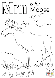 Small Picture Letter M is for Moose coloring page Free Printable Coloring Pages