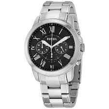 fossil grant chronograph black dial stainless steel men s watch fossil grant chronograph black dial stainless steel men s watch fs4736