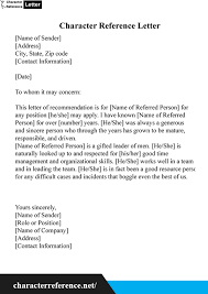 Letters Of Character Reference Samples Sample Character Reference Letter With Example