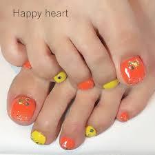 フットラメワンカラーシェルオレンジ Happyheartのネイルデザイン