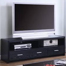 tv stands contemporary media console black finish coaster