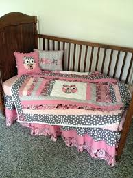 grey pink and mauve baby girl owl crib set