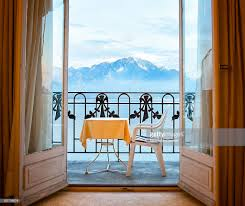 open french doors.  Open Alpine View With Balcony And Open French Doors  Stock Photo To Open Doors
