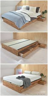 Wooden Double Bed With Drawer Designs Oak Platform Double Storage Bed Double Bed With Storage