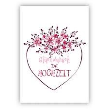 Wunderschöne Hochzeitskarte Mit Blümchen Und Herz Glückwunsch Zur