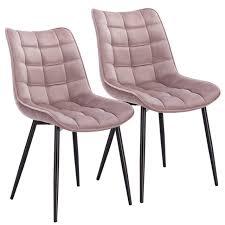 2er Set Küchenstuhl Mit Rückenlehne Aus Samtmetallbeine
