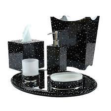 Mike and Ally Stardust Bath Accessories BlackSilver Trim FLandBcom