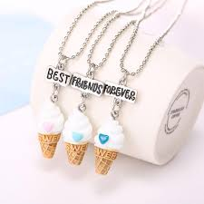 whole best friends f resin ice cream pendant bead chain necklace lead nickel cadmium free kids jewelry silver chains erfly necklace from yiwuming