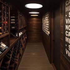 Long Basement Wine Cellar with Cross Cut Wine Racks
