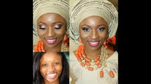 real bride nigerian traditional enement makeup pink glitter eyes and gele tying