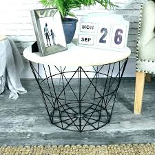 baskets for under coffee table basket black metal wire wooden top side with storage kitchen wicker