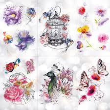 птица клетка павлин цветы водонепроницаемый временные татуировки наклейки