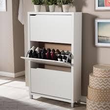 Baxton Studio Simms Wood Modern Shoe Cabinet in White-28862-4514-HD -