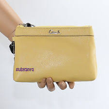 NWT Coach Leather Wristlet Wallet Clutch Z52170 Canary Yellow NEW