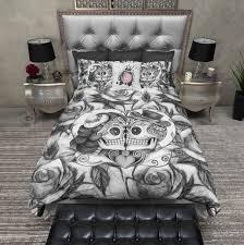 Skull Bedroom Lightweight Black And White Rose Kissing Sugar Skull Duvet Cover
