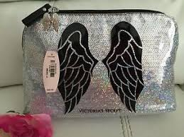 image is loading new victoria secret bling silver cosmetic makeup bag