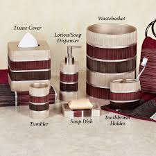Bathroom Vanity Accessory Sets Modern Line Burgundy Striped Bath Accessories Mosaic Bathroom