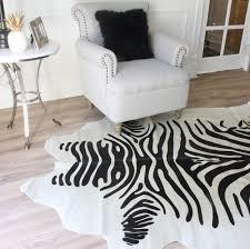 black and natural white printed zebra cowhide rug