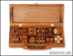 Board Games In Wooden Box Case with 100 Puzzles Limited 69