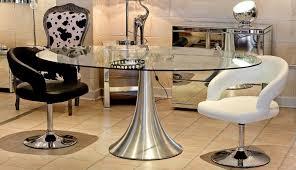 table oval home lusi glass rovigo small dining round room extending amusing stowaway black chrome gumtree