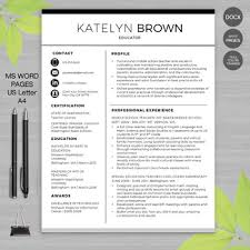 Resume Templaye Teacher Resume Template Ms Word Apple Pages Educator Resume Writing Guide