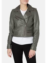 muubaa columbia cropped dark grey biker jacket