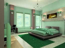 Soft Green Wall Bedroom Paint Schemes With Grey Framed Bed On