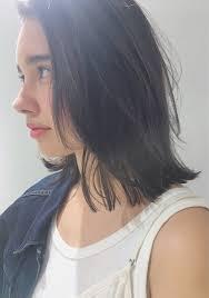 かっこいいけど色っぽい前髪なしの黒髪ミディアムヘアスタイル集hair