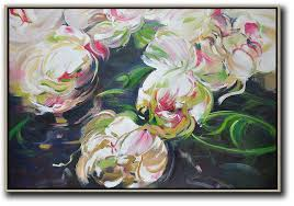 large abstract painting on canvas horizontal abstract flower oil painting contemporary art acrylic painting white green