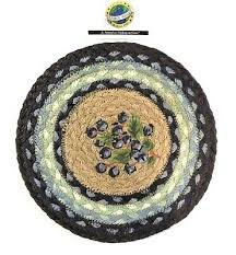 earthrugs braided 10 round blueberry trivet placemat free new